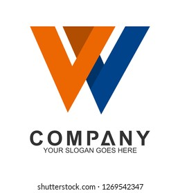 initial letter W business logo in simple and modern style