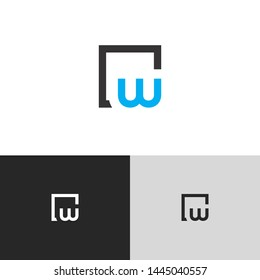 Initial Letter w inside circle lowercase modern logo design template elements. blue letter Isolated on black white grey background. Suitable for business, consulting group company.