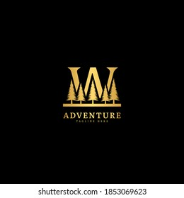 Initial letter W logotype. Natural adventure logo with mountain and forest panorama, fit for company and business logo.