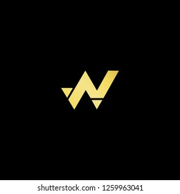 Initial letter W N NW WN minimalist art logo, gold color on black background. - Vector