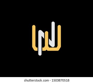 Initial letter W and N, WN, NW, overlapping interlock logo, monogram line art vintage style on black background
