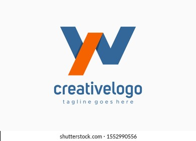 Initial Letter W and N or Y and N Linked Flat Vector Logo Design