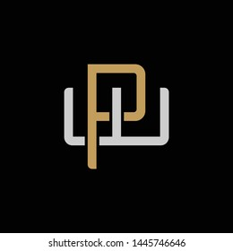 Initial letter W and P, WP, PW, overlapping interlock logo, monogram line art style, silver gold on black background