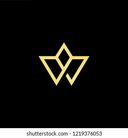 Initial letter W WW minimalist art logo, gold color on black background.