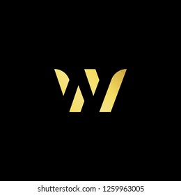Initial letter W WW WN NW minimalist art logo, gold color on black background. - Vector