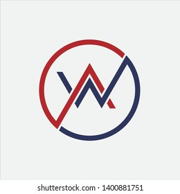 Initial Letter WA AW Logo Template Design - Vector