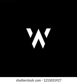 Initial letter WA AW minimalist art logo, white color on black background.