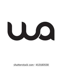 initial letter wa linked round lowercase monogram logo black