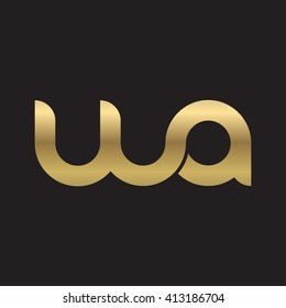 initial letter wa linked round lowercase logo gold black background