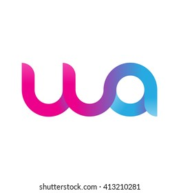 initial letter wa linked round lowercase logo pink blue purple