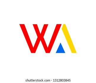 Initial Letter WA Logo Template Design