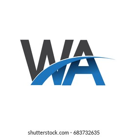 initial letter WA logotype company name colored blue and grey swoosh design. vector logo for business and company identity.