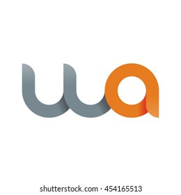 initial letter wa modern linked circle round lowercase logo orange gray