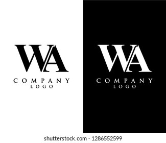 initial letter wa/aw logotype company name black and white design. vector logo for business and company identity