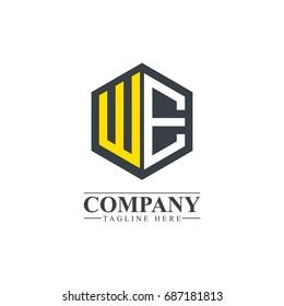 Initial Letter WE Hexagonal Design Logo