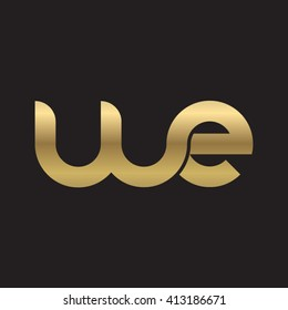 initial letter we linked round lowercase logo gold black background