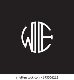 Initial letter WE, minimalist line art monogram circle shape logo, white color on black background