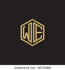 Initial letter WE, minimalist line art hexagon logo, gold color on black background