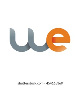 initial letter we modern linked circle round lowercase logo orange gray