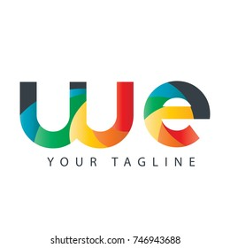 Initial Letter WE Rounded Design Logo