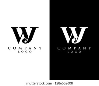 initial letter wj/jw logotype company name black and white design. vector logo for business and company identity