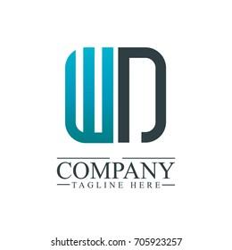 Initial Letter WN Linked Box Design Logo