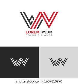 Initial Letter WN linked uppercase overlap modern logo design template. Suitable for business, consulting group company