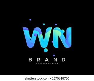 Initial letter WN logo with colorful background, letter combination logo design for creative industry, web, business and company. - Vector