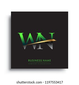 initial letter WN logotype company name colored green and gold swoosh design. vector logo for business and company