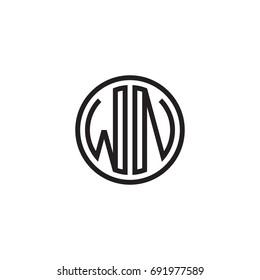 Initial letter WN, minimalist line art monogram circle logo, black color