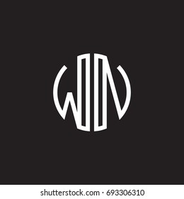 Initial letter WN, minimalist line art monogram circle shape logo, white color on black background
