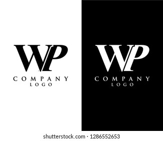 initial letter wp/pw logotype company name black and white design. vector logo for business and company identity