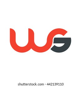 initial letter ws linked round lowercase logo red