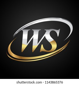 initial letter WS logotype company name colored gold and silver swoosh design. isolated on black background.