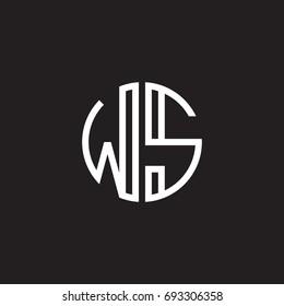 Initial letter WS, minimalist line art monogram circle shape logo, white color on black background