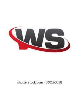 initial letter WS swoosh ring company logo red black