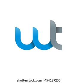 initial letter wt modern linked circle round lowercase logo blue gray