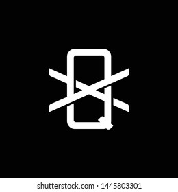 Initial letter X and Q, XQ, QX, overlapping interlock monogram logo, white color on black background