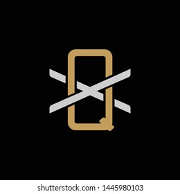 Initial letter X and Q, XQ, QX, overlapping interlock logo, monogram line art style, silver gold on black background