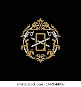 Initial letter X and Q, XQ, QX, decorative ornament emblem badge, overlapping monogram logo, elegant luxury silver gold color on black background