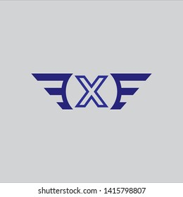 Initial letter X wing background logo template vector