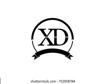 initial letter XD logo monogram retro black