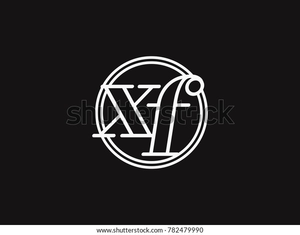Initial Letter Xf Lowercase Outline Inside Stock Vector