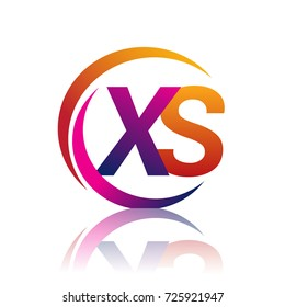 initial letter XS logotype company name orange and magenta color on circle and swoosh design. vector logo for business and company identity.
