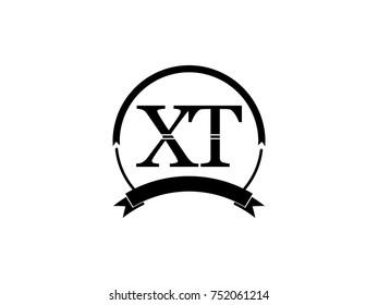initial letter XT logo monogram retro black
