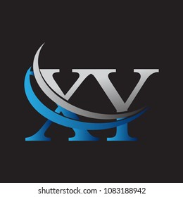 initial letter XY logotype company name colored blue and grey swoosh design. vector logo for business and company identity.