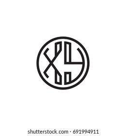 Initial letter XY, minimalist line art monogram circle logo, black color