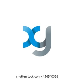 initial letter xy modern linked circle round lowercase logo blue gray