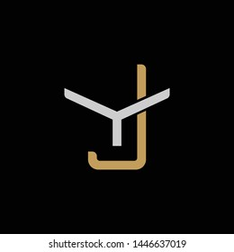Initial letter Y and J, YJ, JY, overlapping interlock logo, monogram line art style, silver gold on black background