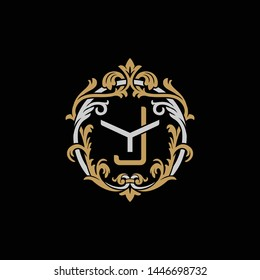 Initial letter Y and J, YJ, JY, decorative ornament emblem badge, overlapping monogram logo, elegant luxury silver gold color on black background